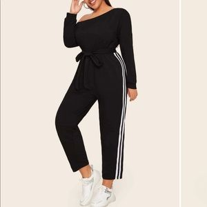 Stripped side belted jumpsuit